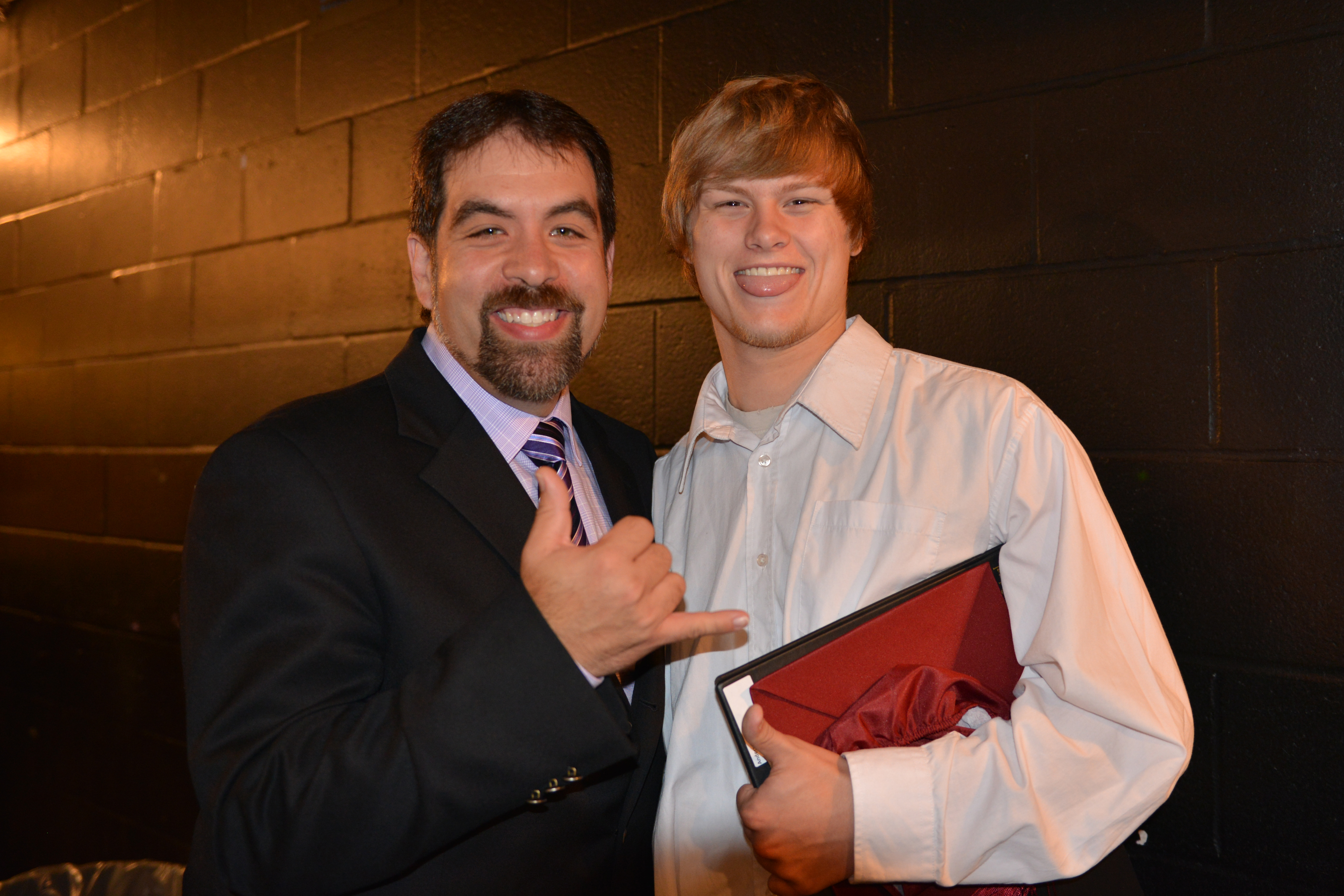 Brady Anderson with Dr. Isaacs at Waterdown Highschool 2013 graduation