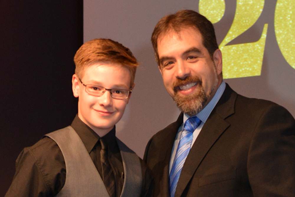 Dr. Isaacs presents Andrew Krynski with the Aldente Dentistry Award for Music Excellence at Flamborough Centre 2016